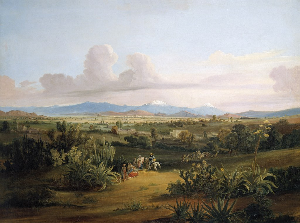RUGENDAS-View-of-the-Valley-of-Mexico-with-Volcanoes-and-Texcoco-Lake